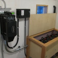 Balance of system including inverter/charger, solar charge controller and battery bank.