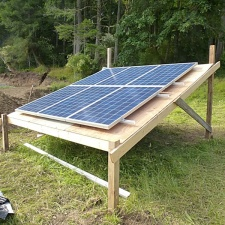 Temporary ground-mounted solar array structure.